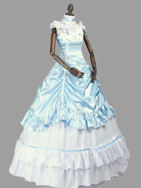 Milanoo Disfraz Halloween Rococo Retro Disfraces Mujeres Vintage Vestido Ruffle Bow Marie Antoinette Disfraz XVIII Ropa Carnaval Halloween