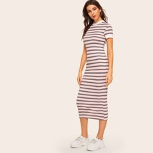 Contrast Neck and Cuff Striped Pencil Dress