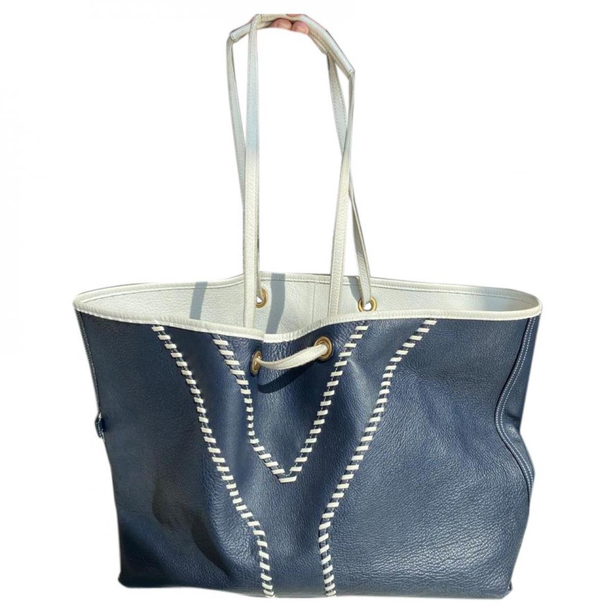 Yves Saint Laurent - Sac a main Easy pour femme en cuir - bleu