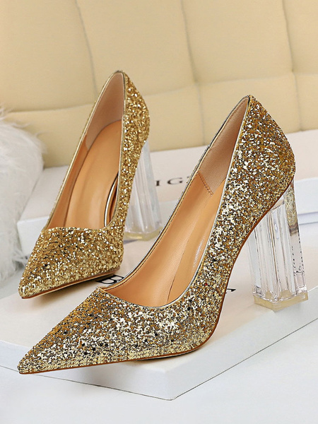 Milanoo Silver Prom Shoes Glitter Pumps Pointed Toe Transparent Chunky Heel Party High Heels