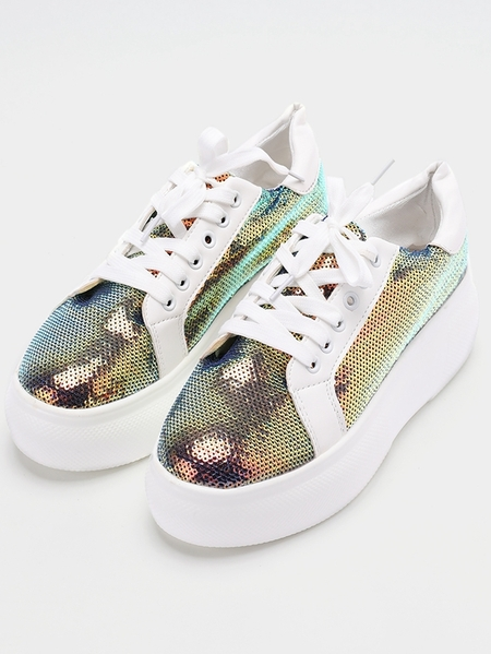 Yoins Sequin Lace Up Casual Shoes
