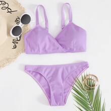 Gerippter Bikini Badeanzug mit Wickel Design