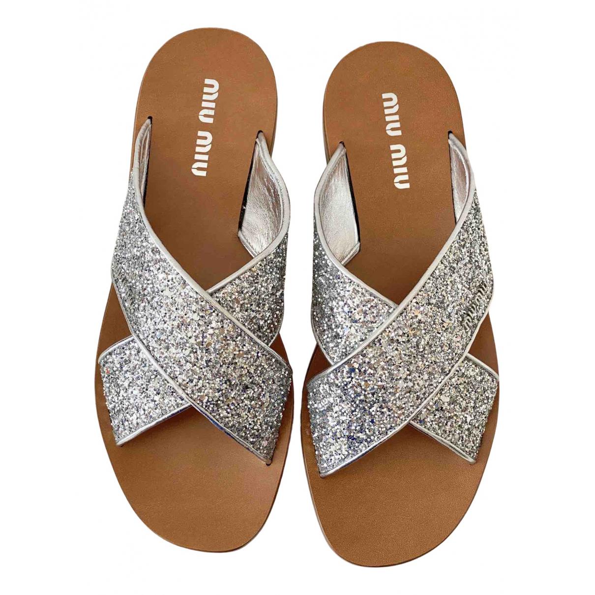 Miu Miu \N Sandalen in  Silber Mit Pailletten