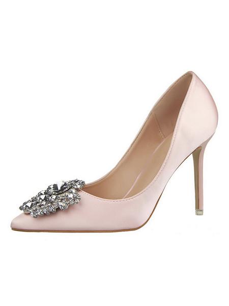 Milanoo Zapatos de novia de tacon de stiletto de puntera puntiaguada de saten con pedreria estilo moderno