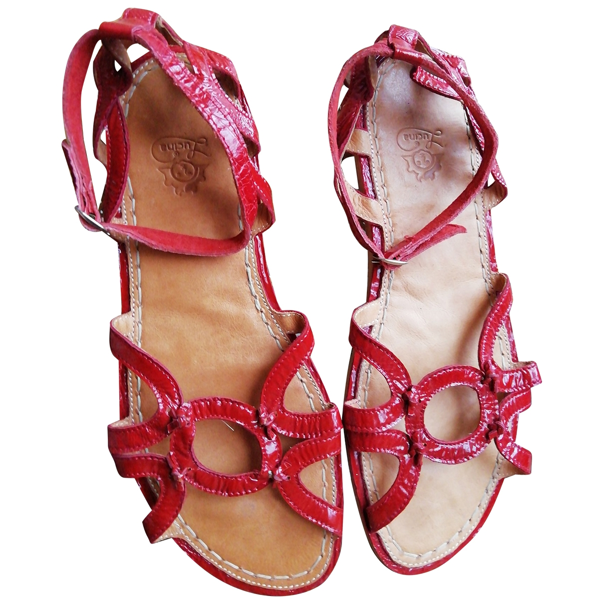 Non Signé / Unsigned \N Burgundy Leather Sandals for Women 40 EU