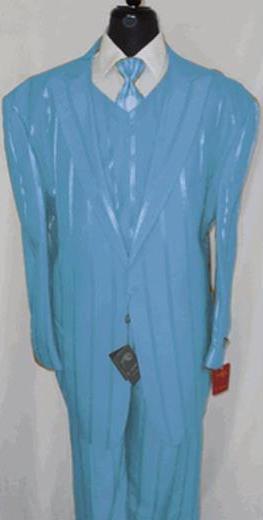 1 Button Sky Blue Peak Lapel Vested 3 Piece Suit