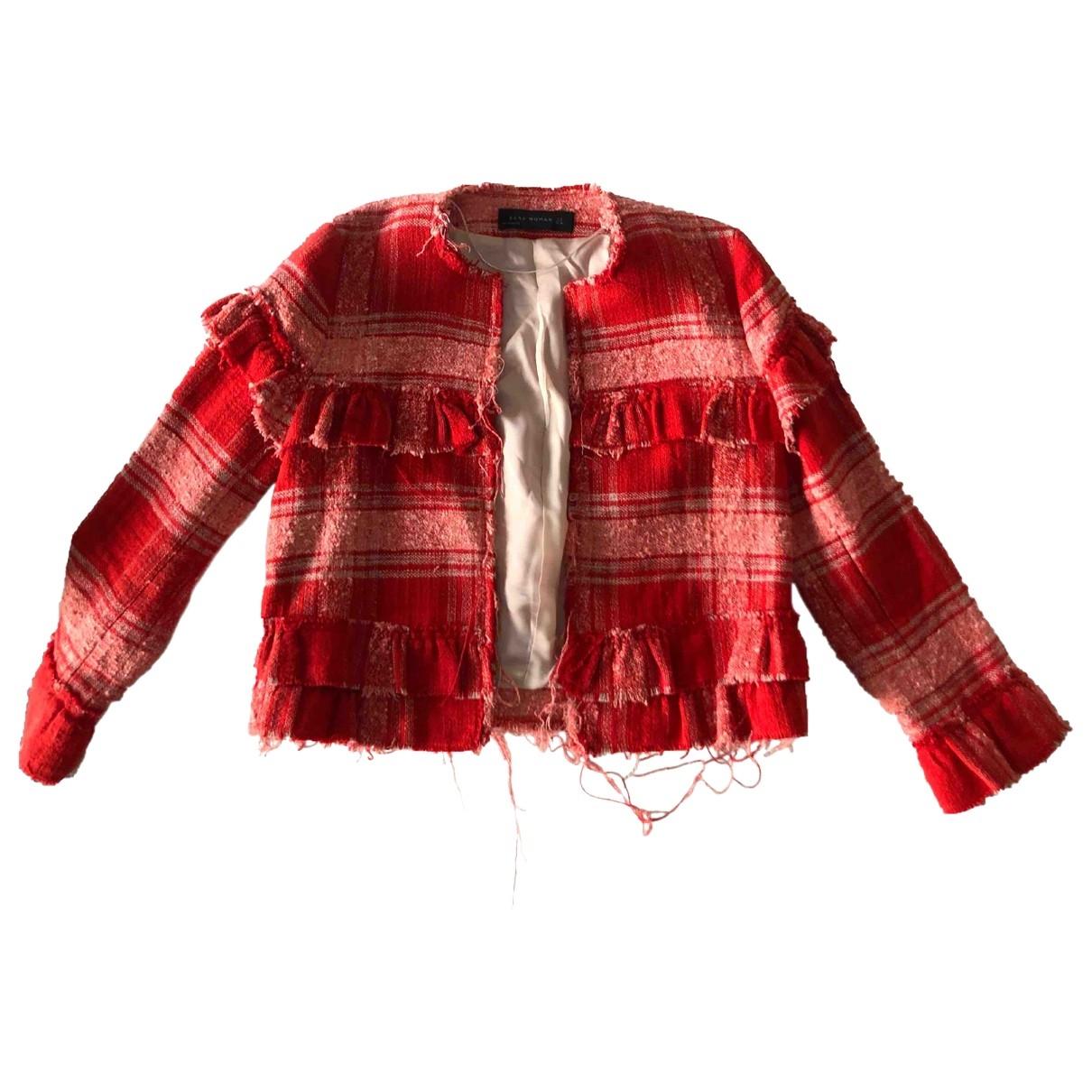 Zara \N Jacke in  Rot Baumwolle