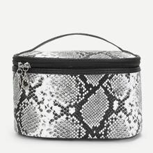 Makeup Tasche mit Schlangenleder Muster und Reissversvhluss