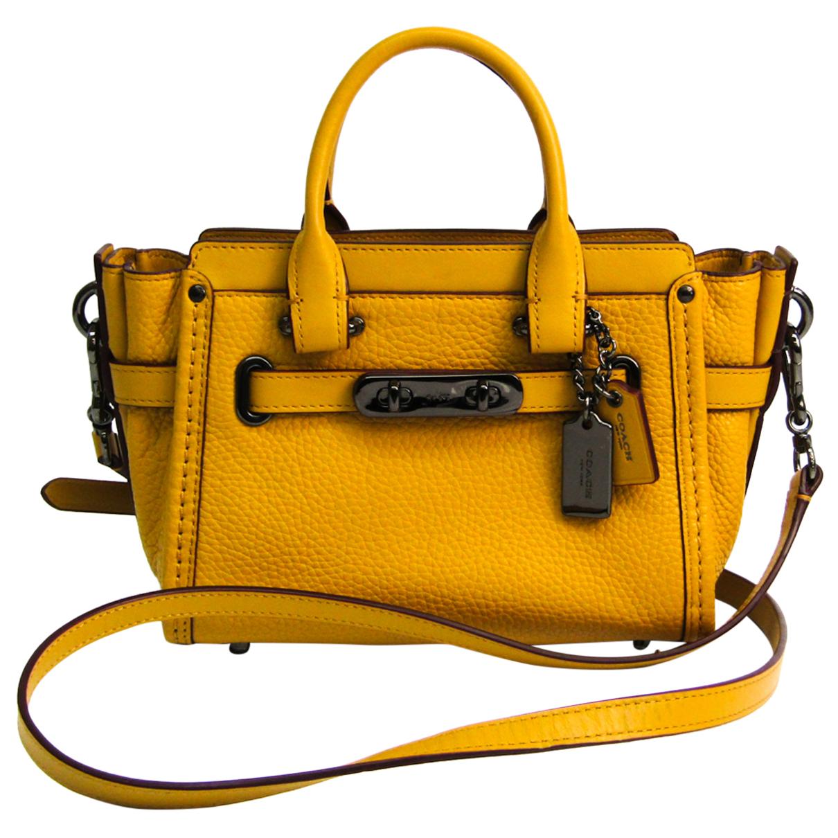 Coach - Sac a main   pour femme en cuir - jaune