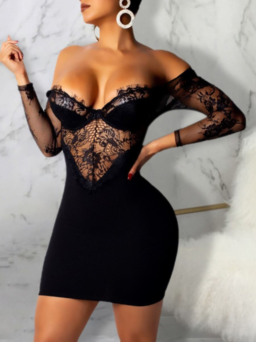 LW Lovely Sexy V Neck Off The Shoulder Lace Patchwork Black Mini Dress