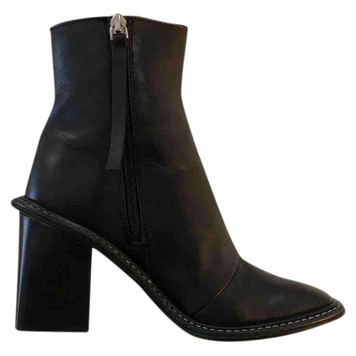 Topshop - Bottes   pour femme en cuir - noir