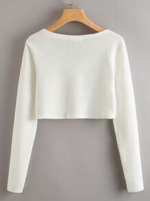 Solid Rib-knit Crop Tee