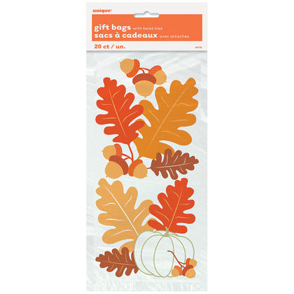 Fall Leaves Cellophane Bags, 11