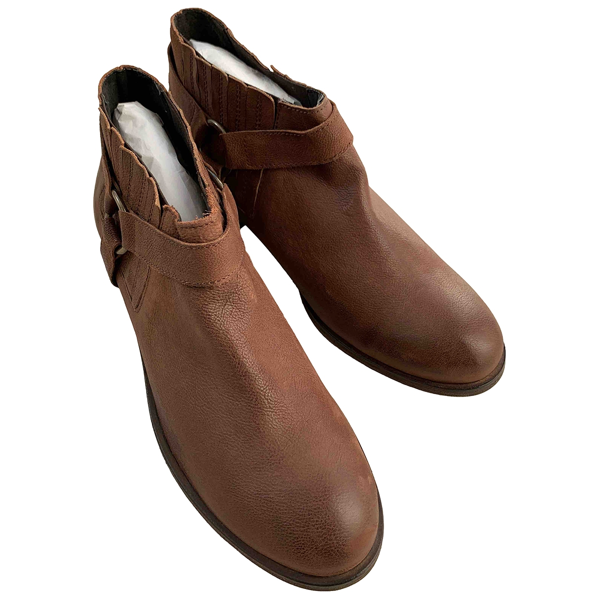 Jigsaw - Boots   pour femme en cuir - marron