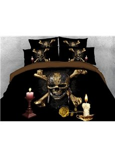 The Skeleton Candles 3D Printed 4-Piece Polyester Bedding Sets/Duvet Covers