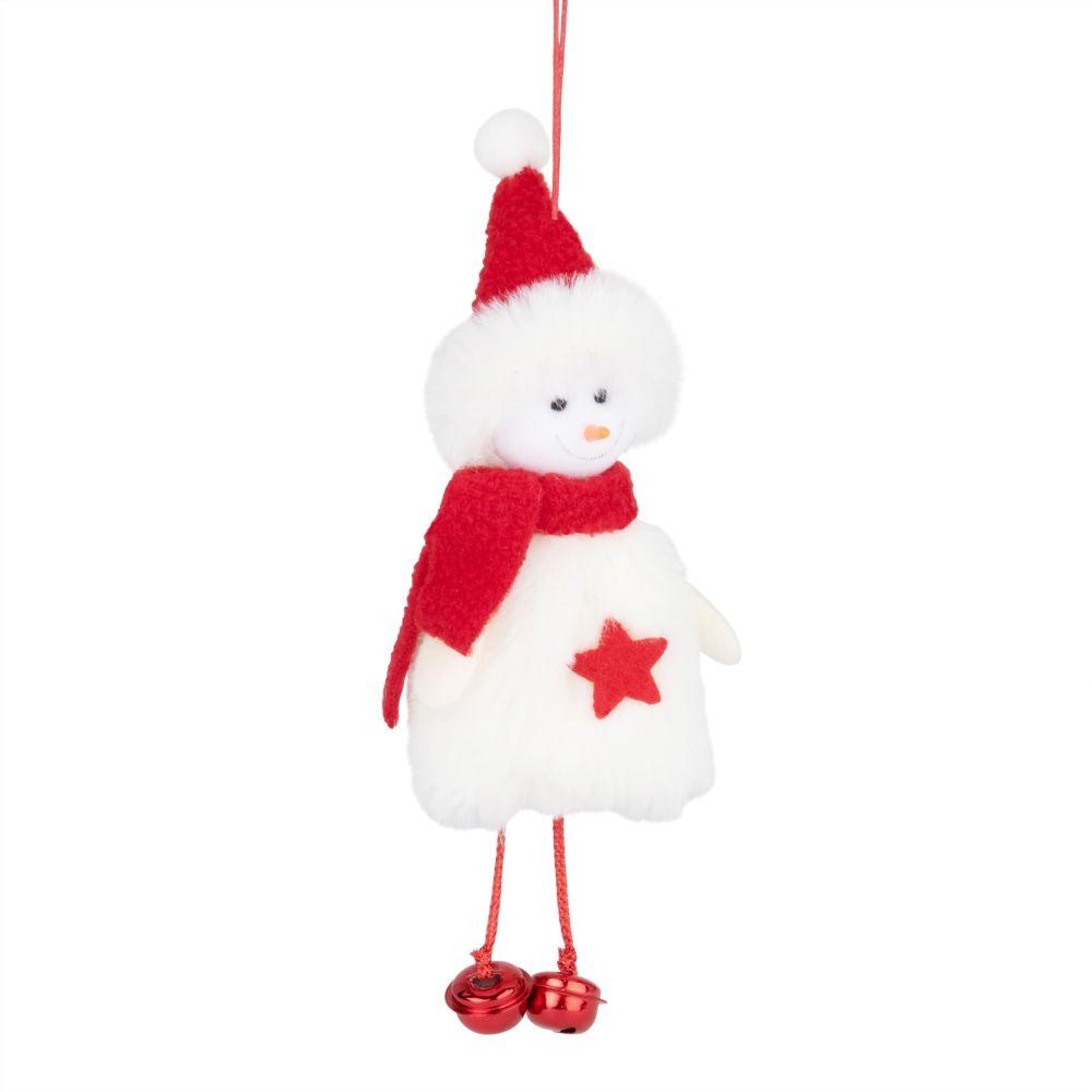 Weihnachtliche Haengedeko, Schneemann rot und weiss
