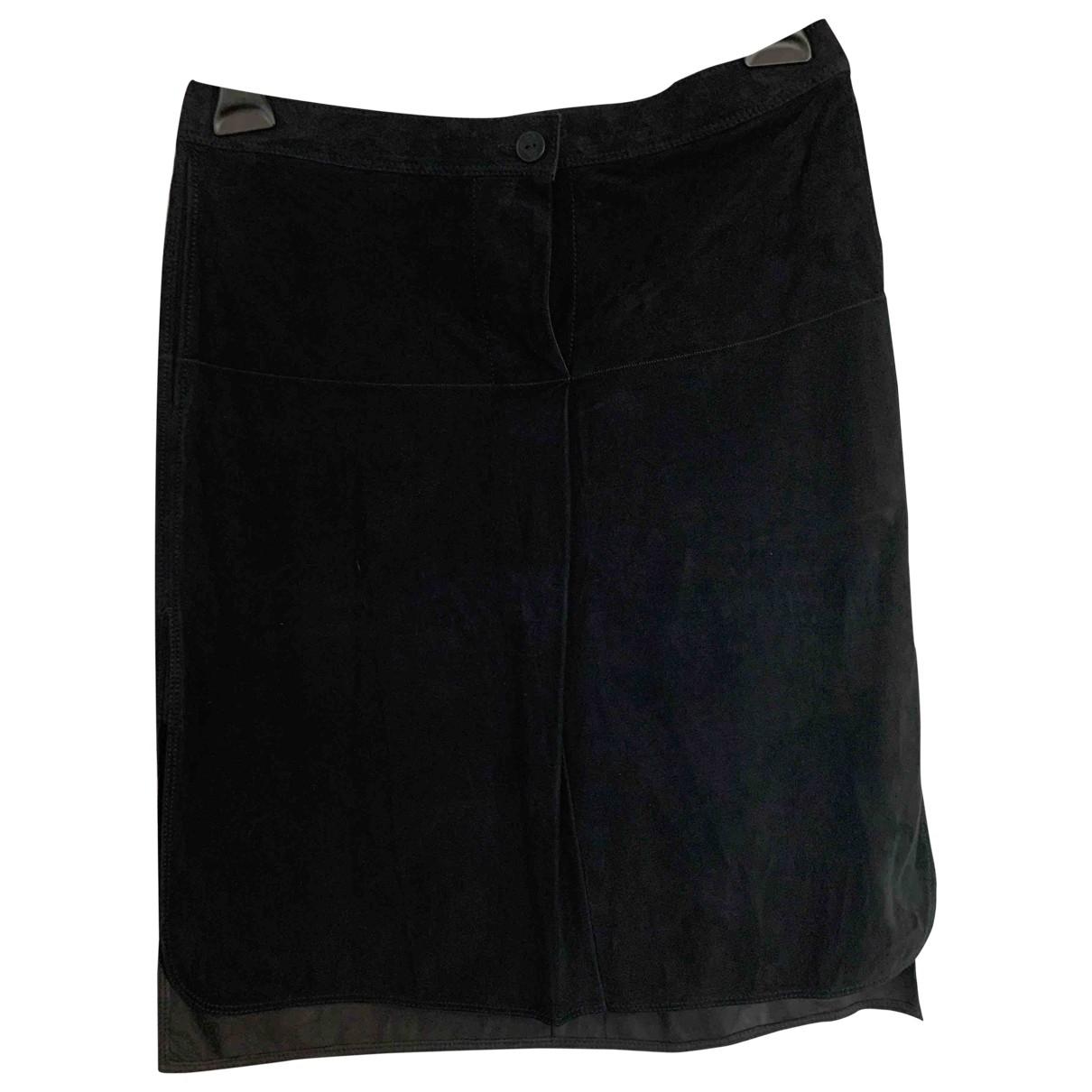 Hermes - Jupe   pour femme en cuir - noir
