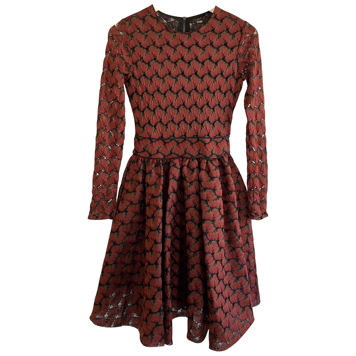 Maje \N Kleid in  Bordeauxrot Spitze