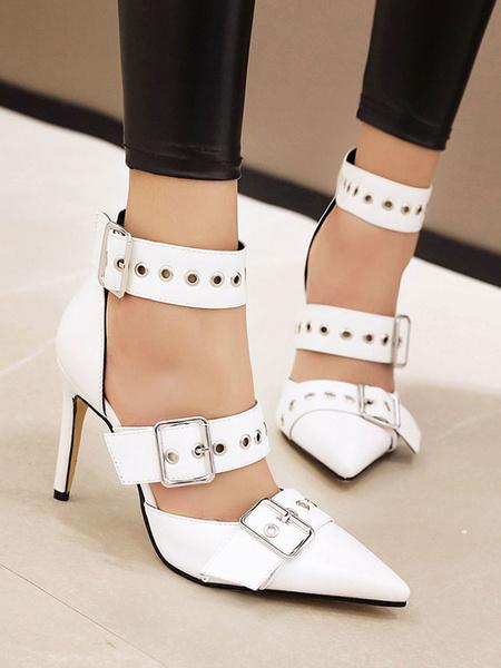 Milanoo Women's Black High Heels Pointed Toe Stiletto Heel Buckle Plus Size Pumps