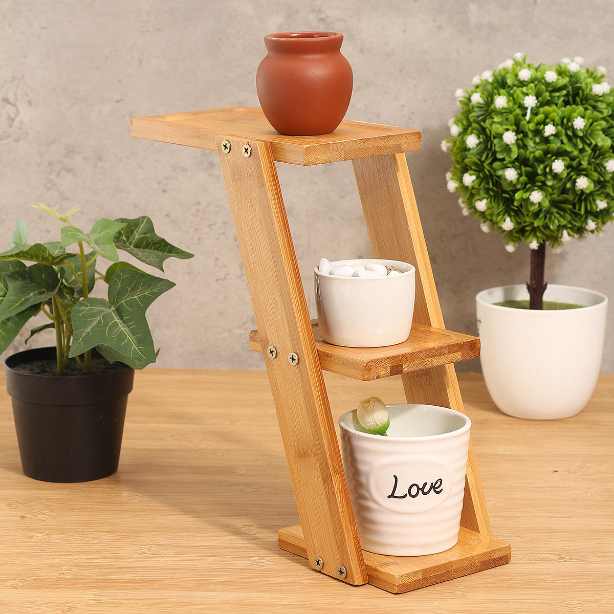 Flower Pot Plant Stand Rack Bamboo Shelf Garden Indoor Outdoor Patio Decorations