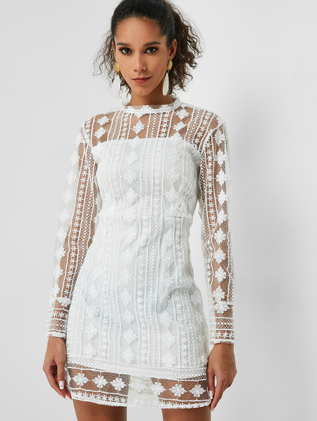 Yoins White Cut Out Back Crochet Lace See Through Dress