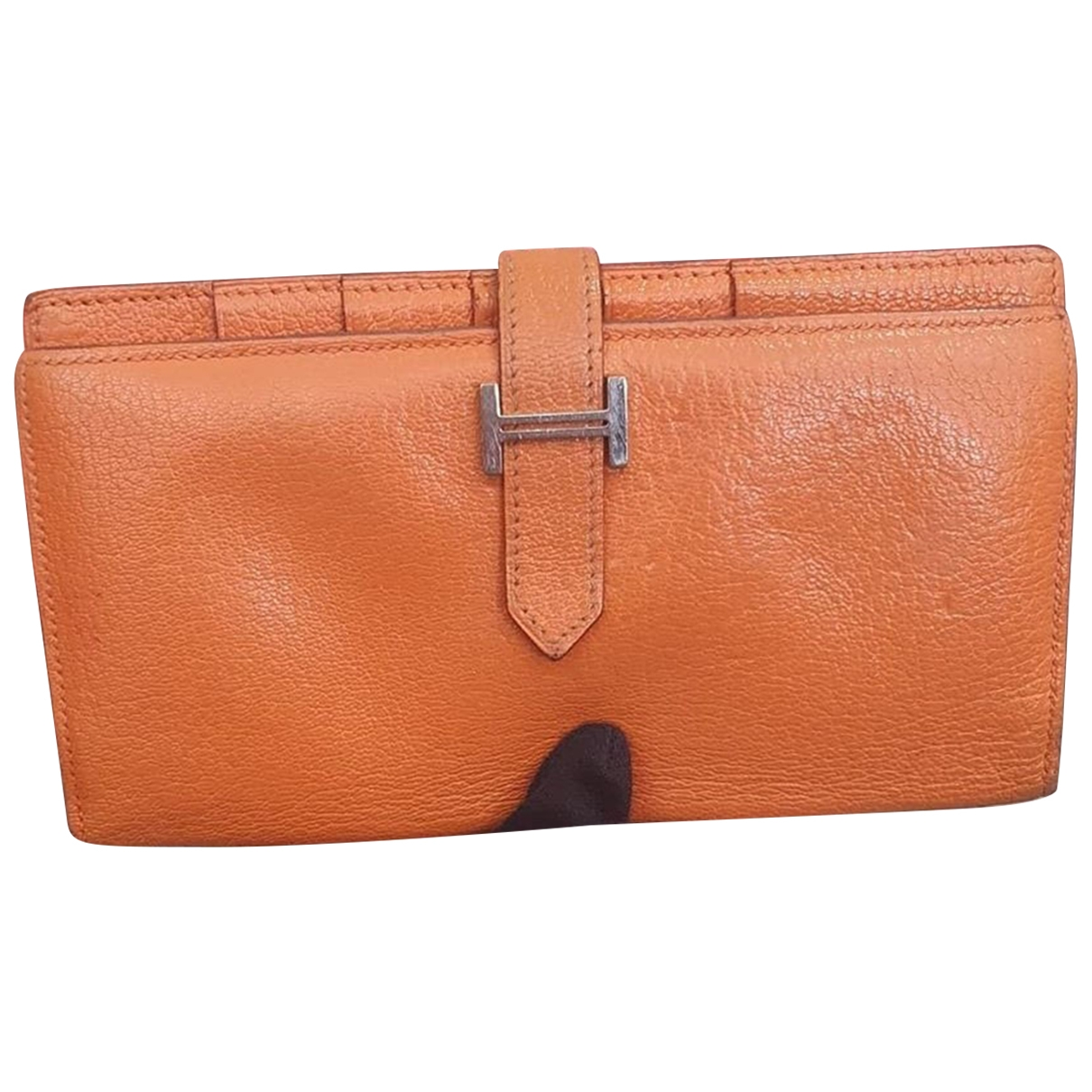 Hermes - Portefeuille Bearn pour femme en cuir - orange