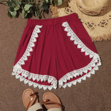 Guipure Lace Panel Wide Leg Shorts