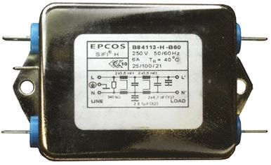 EPCOS , B84113H 6A 250 V ac/dc 50 → 60Hz, Chassis Mount RFI Filter, Tab, Single Phase