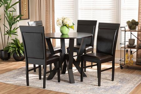 NADA-DARK BROWN-5PC DINING SET Nada Modern and Contemporary Dark Brown Faux Leather Upholstered and Dark Brown Finished Wood 5-Piece Dining