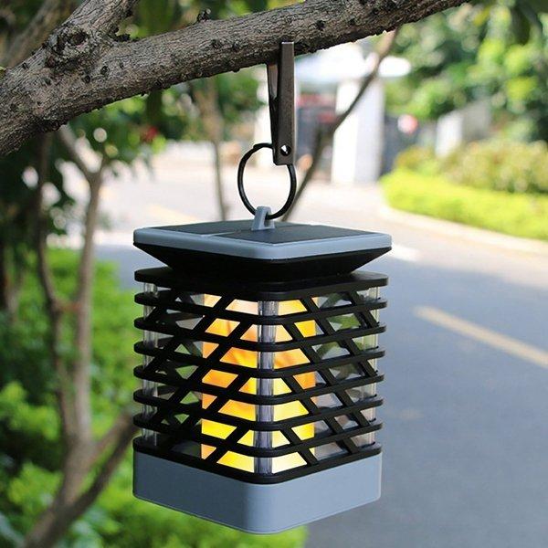 Solar Powered 75 LED Flame Effect Hanging Lantern Light Outdoor Waterproof Garden Lawn Tree