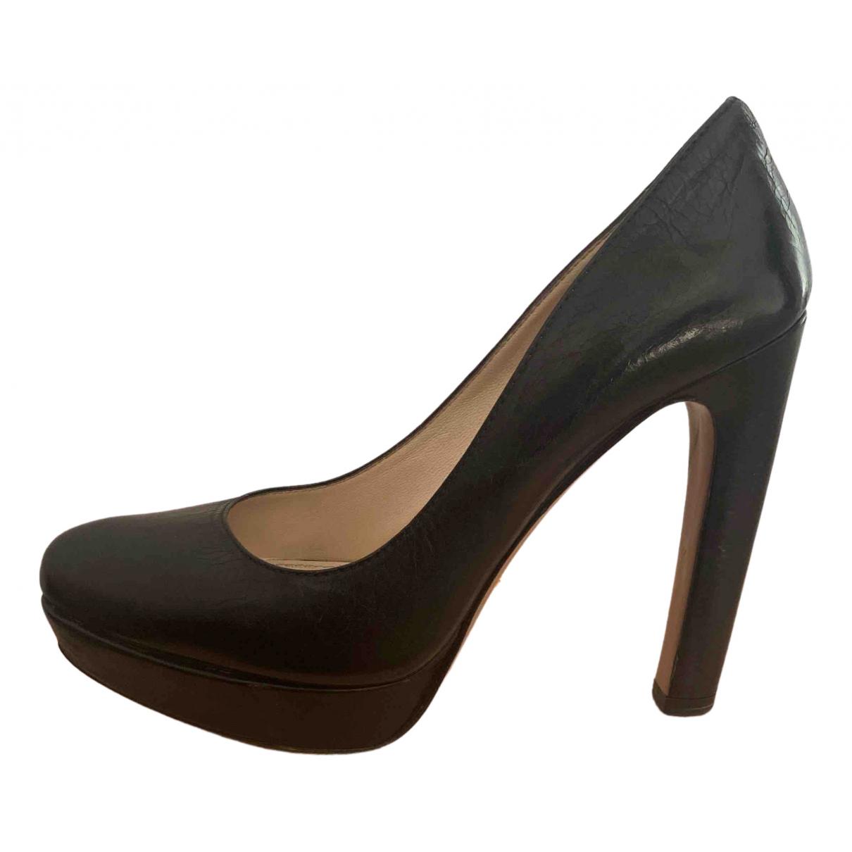 Prada \N Black Leather Heels for Women 38.5 IT