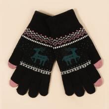 Cartoon Elk Print Gloves