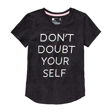 Xersion Little & Big Girls V Neck Short Sleeve Graphic T-Shirt, Xx-small (4-5) , Black