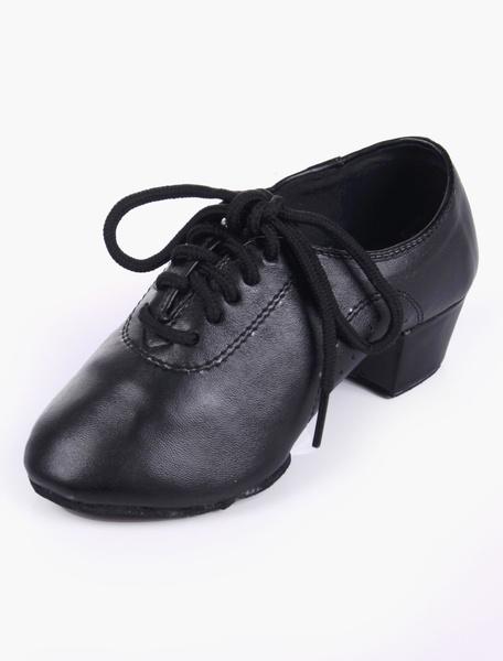 Milanoo Almond Toe Soft Sole PU Leather Quality Ballroom Shoes For Kids