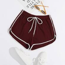 Knot Front Contrast Binding Dolphin Shorts