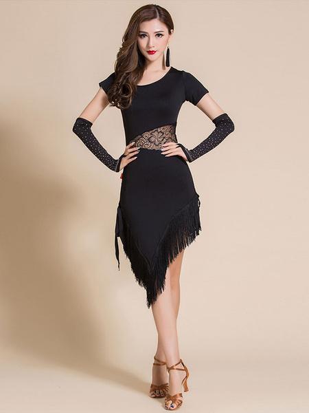 Milanoo Latin Dance Costumes Dresses Black Fringe Lace Rhinestone Dancer Dancing Wears Outfits Halloween