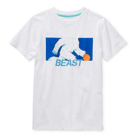 Xersion Little & Big Boys Crew Neck Short Sleeve Graphic T-Shirt, 18-20 Husky , White