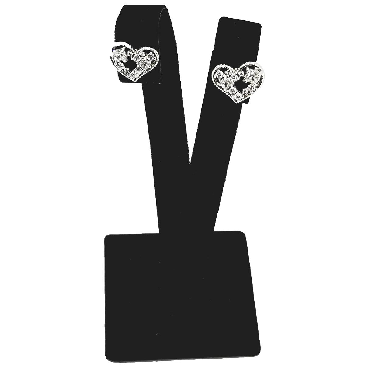 - Boucles doreilles Motifs Coeurs pour femme en cristal - argente