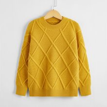 Girls Solid Drop Shoulder Sweater