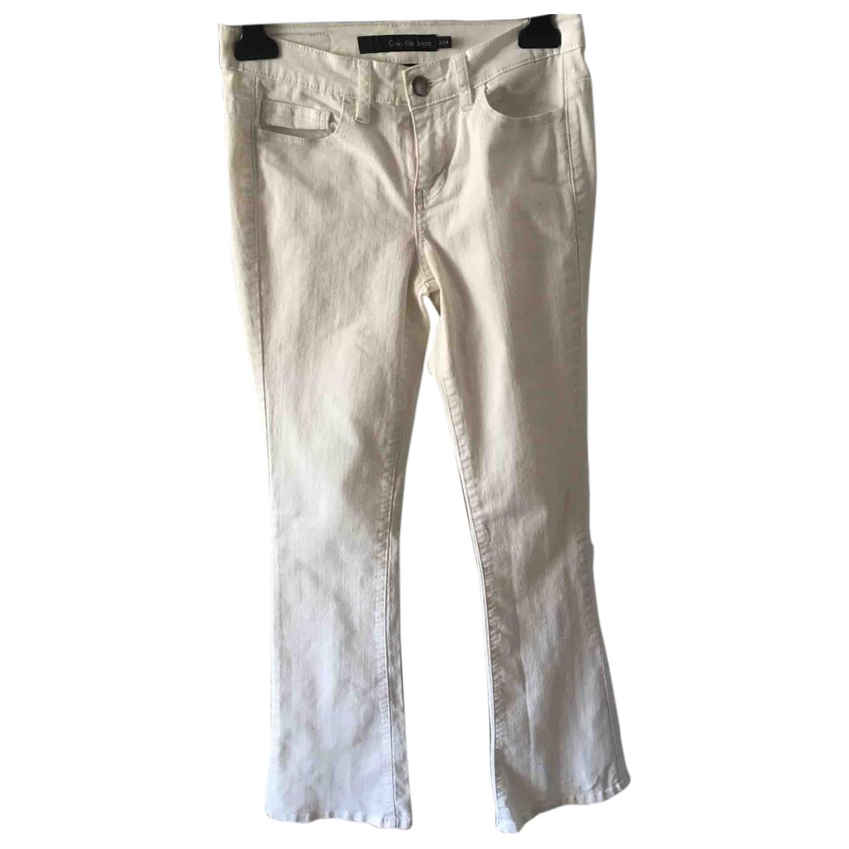 Calvin Klein \N White Spandex Trousers for Women 38 FR