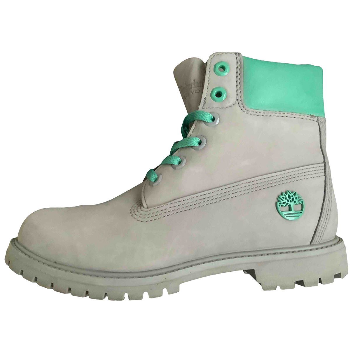 Timberland N Grey Leather Boots for Women 38.5 EU