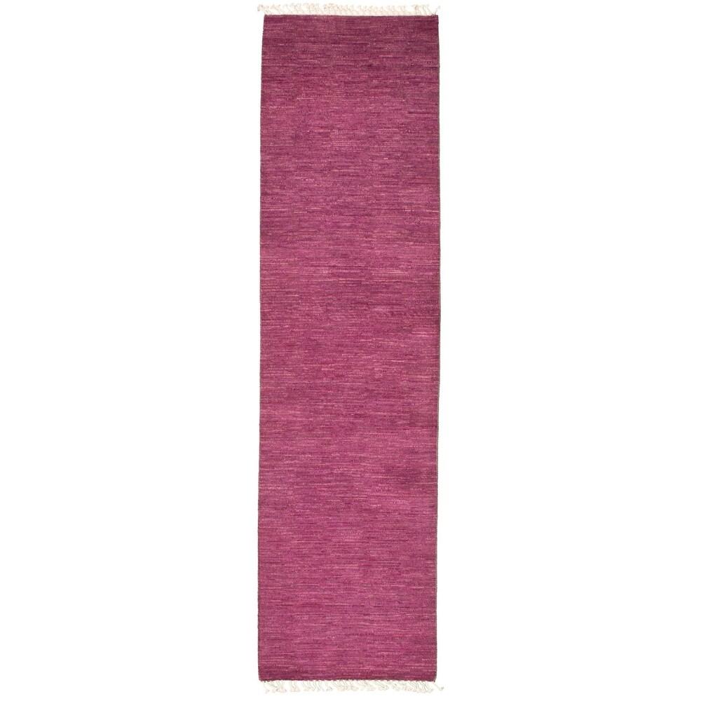 ECARPETGALLERY  Hand-knotted Pak Finest Gabbeh Magenta Wool Rug - 2'7 x 10'3 (Dark Magenta - 2'7 x 10'3)
