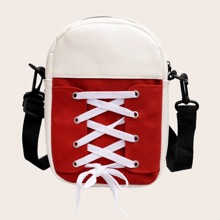 Lace-up Front Colorblock Crossbody Bag