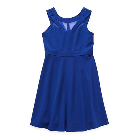 Emerald Gumdrops Big Girls Sleeveless Skater Dress, 14 , Blue