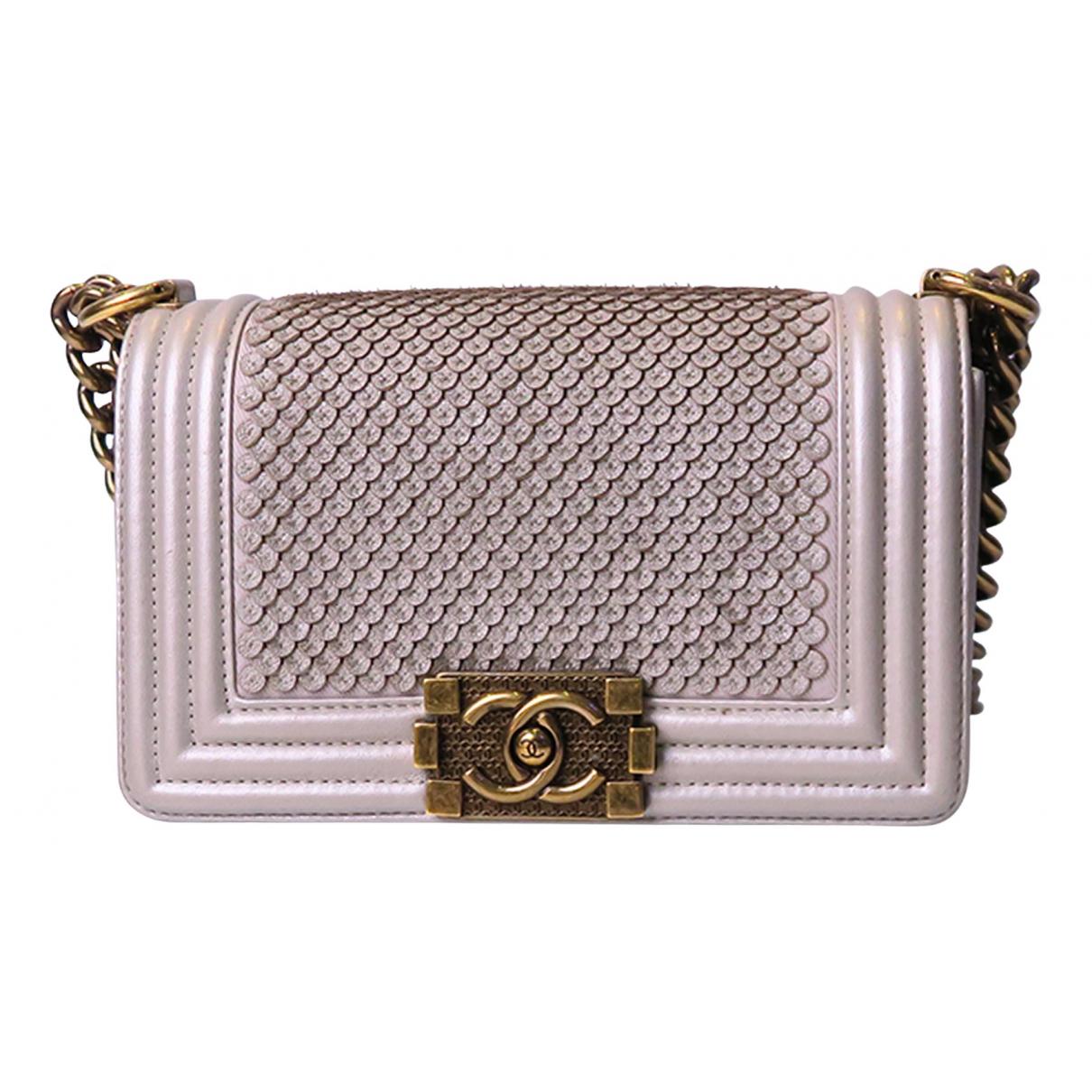 Chanel Boy Silver Leather handbag for Women N