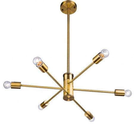 DU77G 6-Light Ceiling Fixture with Iron Materials and 40 Watts in Gold