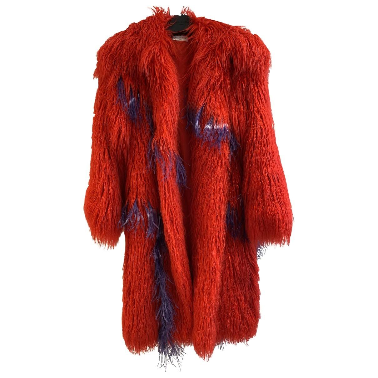 Dries Van Noten - Manteau   pour femme en fourrure synthetique - rouge