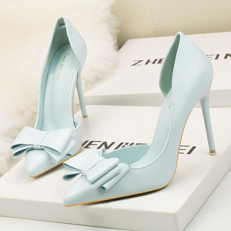 Ericdress Bow PU Pointed Toe Stiletto Heel Women's Pumps