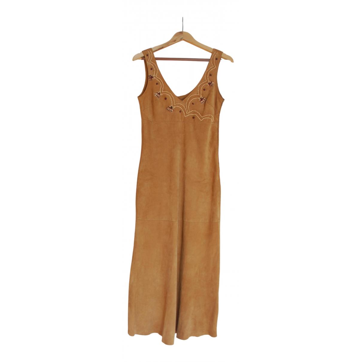 - Robe   pour femme en cuir - camel