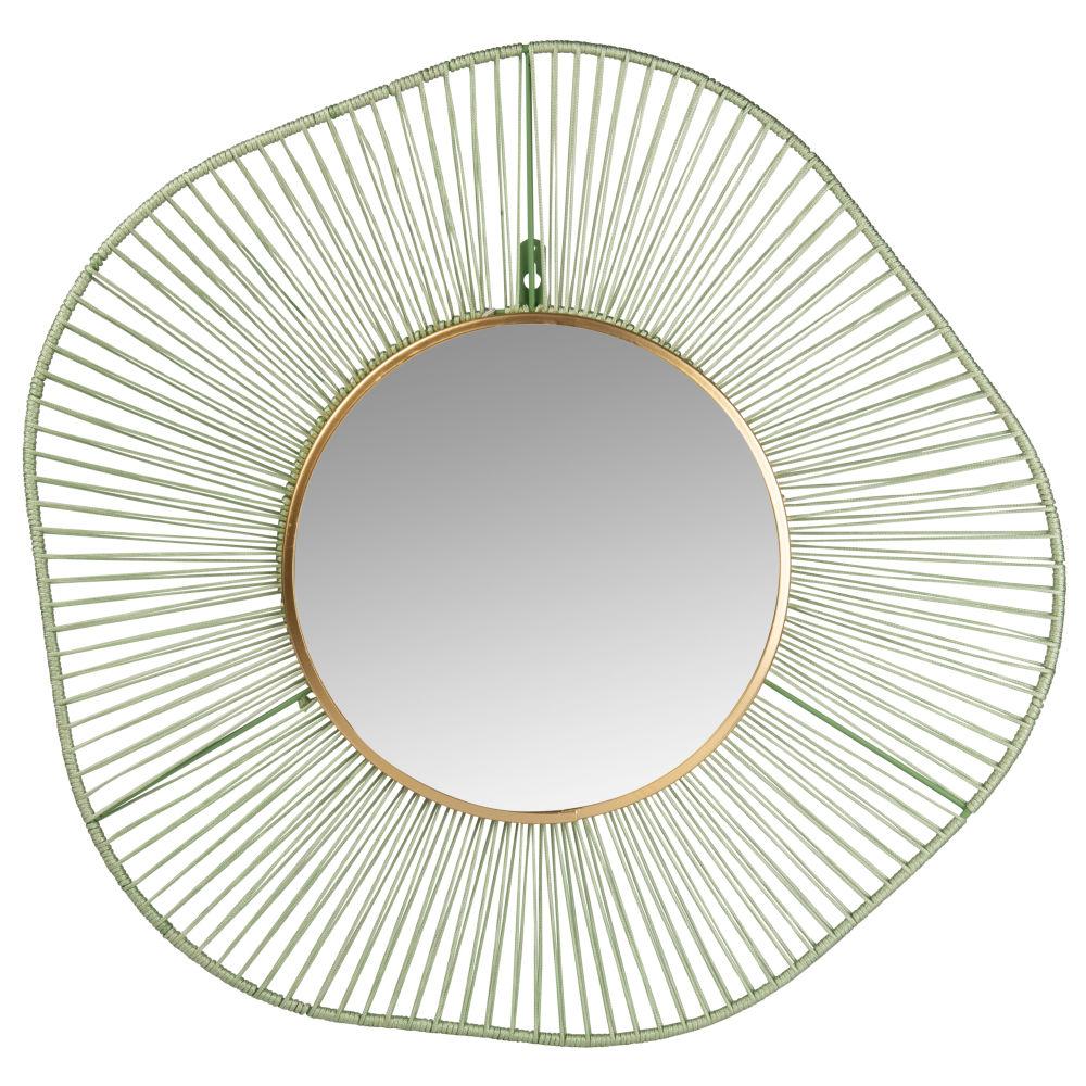 Runder Spiegel aus gruenem metal D60